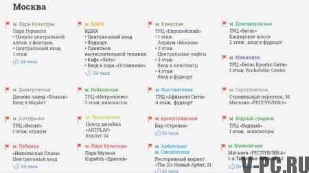 адресса инстаграм автоматов в Москве